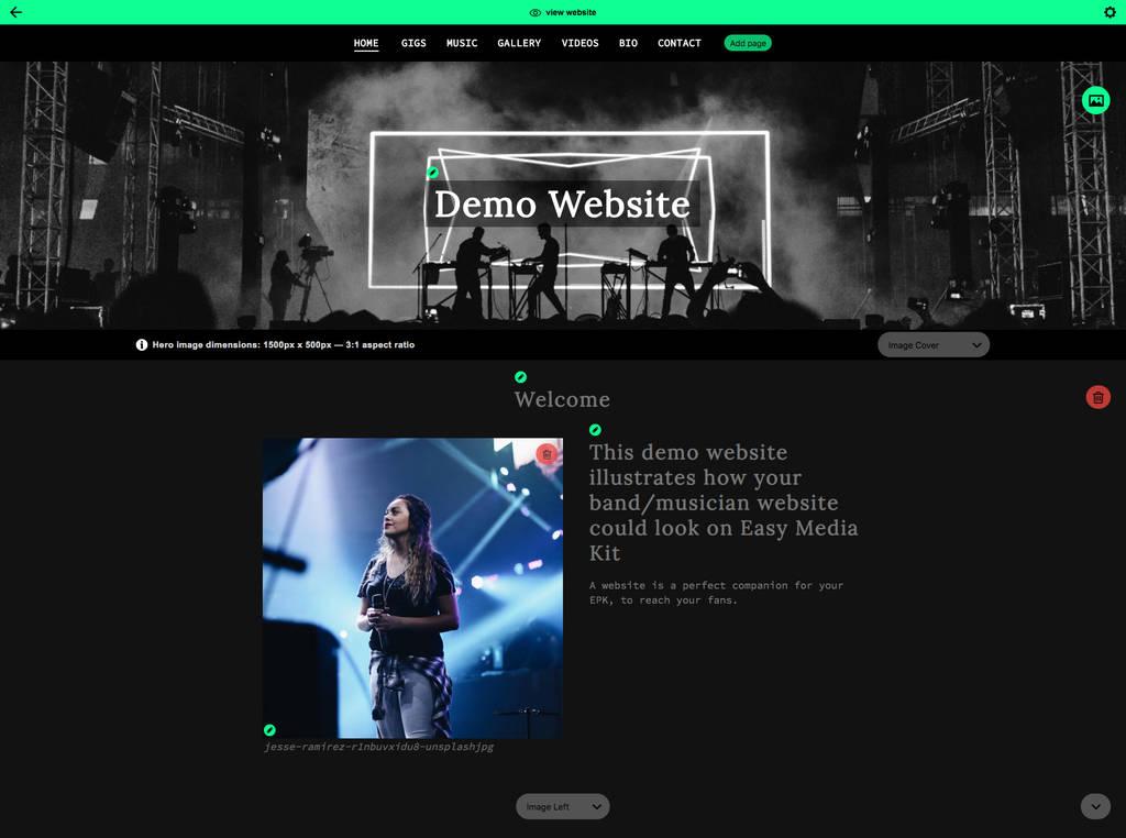 Music website builder screen shot