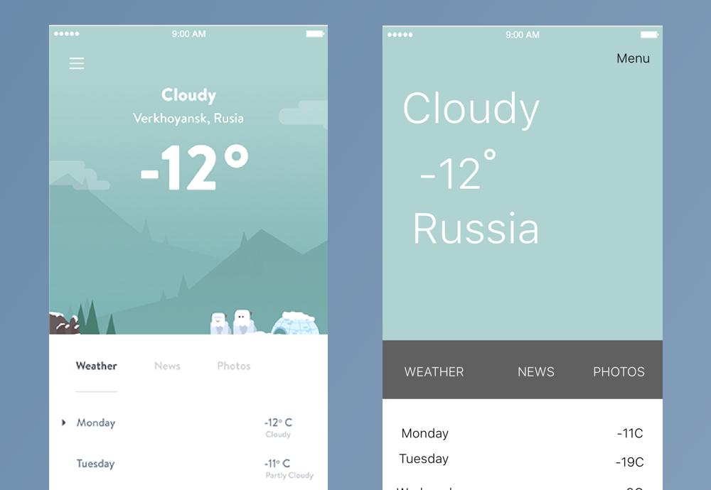 Weather app UI design good and bad