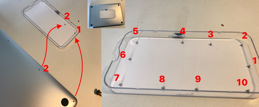 Position your Mac's screw properly to not forget which goes where