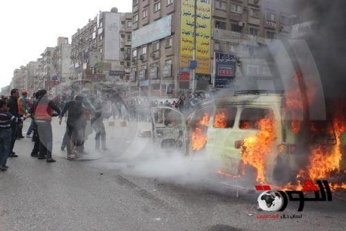 بالصور  مسيرة الإخوان بالهرم تشعل النيران في سيارة قناة التحرير