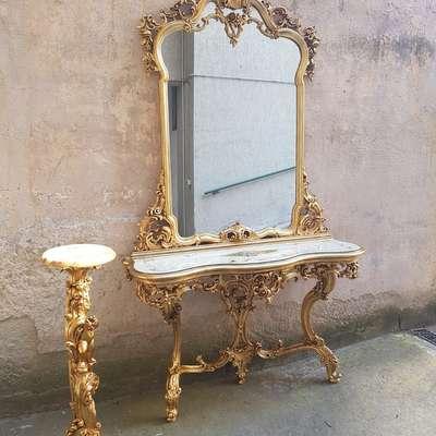 Зеркало с консолью и подставка в стиле Барокко под заказ, Италия, конец 20 века