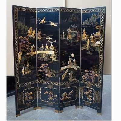 Антикварная китайская ширма в стиле Шинуазри, Китай, конец 19 века