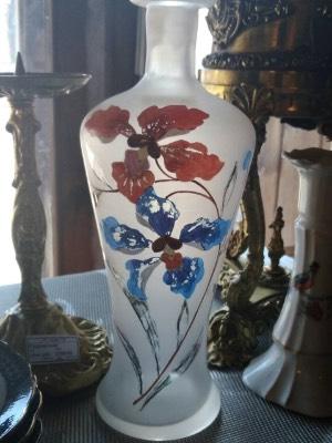 Ваза стекло . Ручная роспись в стиле Винтаж в наличии, Бельгия, середина 20 века