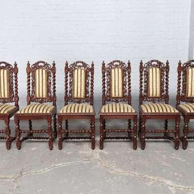 Набор из 6 стульев в стиле Охотничий под заказ, Бельгия, конец 19 века