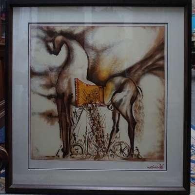 """Шелкография Сальвадора Дали """"Троянский конь"""" в стиле Эклектика, Испания, конец 20 века"""