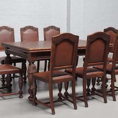 Стол + 8 Стульев Арт Деко в стиле Арт Деко Бельгия, начало 20 века