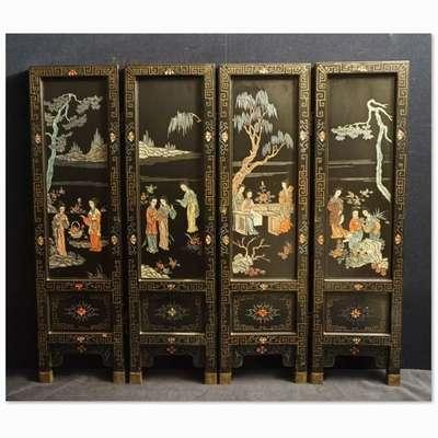 Ширма китайская старинная. в стиле Шинуазри, Китай, начало 20 века