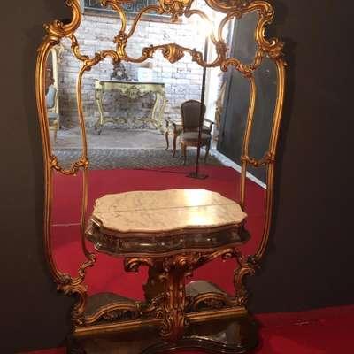 Антикварная консоль с зеркалом начало XX века в стиле Барокко под заказ, Италия, начало 20 века