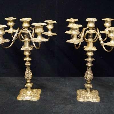 Пара массивных канделябров в стиле модерн в стиле Модерн Англия, начало 20 века