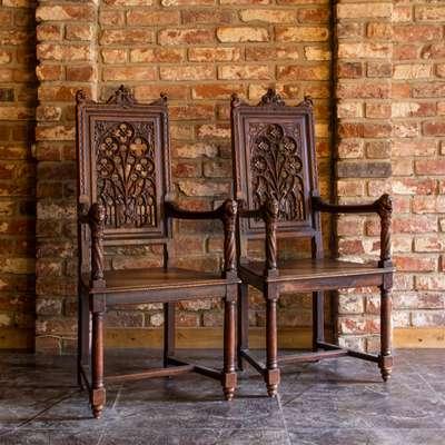 Пара стульев в стиле Готика, Франция, конец 19 века