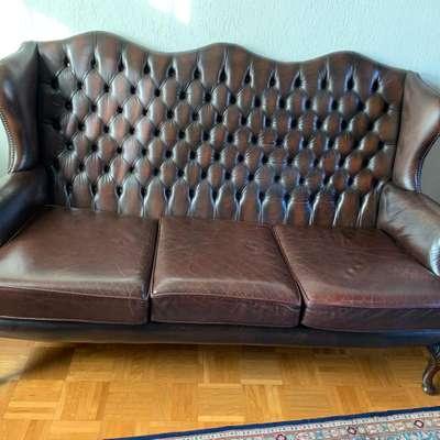Кожаная мебель в стиле Честерфилд, Италия, начало 20 века