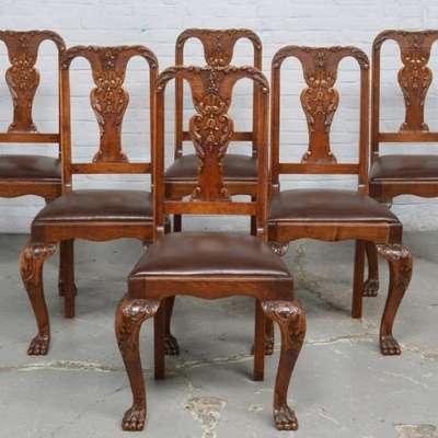 6 стульев в стиле Чиппендейл под заказ, Бельгия, начало 20 века