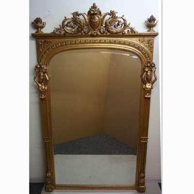 Старинное большое зеркало, украшенное кариатидами. в стиле Ампир, Франция, начало 19 века