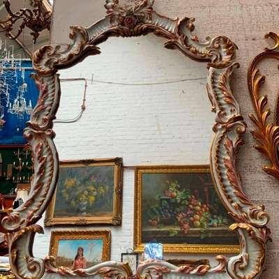 Фарфоровое зеркало. в стиле Рококо Людовик XV, Германия, конец 19 века