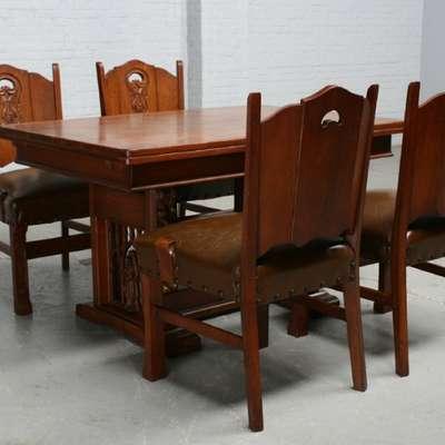 Стол и 4 стула в стиле Готика под заказ, Бельгия, середина 20 века
