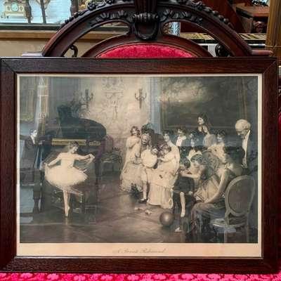 """Гравюра ARTHUR J. ELSLEY """"A PRIVATE REHEARSAL"""". в стиле Классицизм (классика), Англия, начало 20 века"""