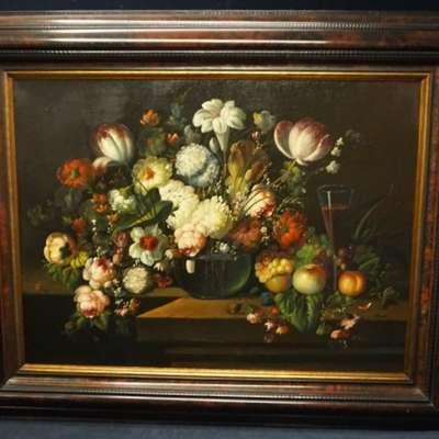 """Живопись """"Натюрморт с цветами"""" A.Goosteen. в стиле Классицизм (классика), Бельгия, середина 19 века"""