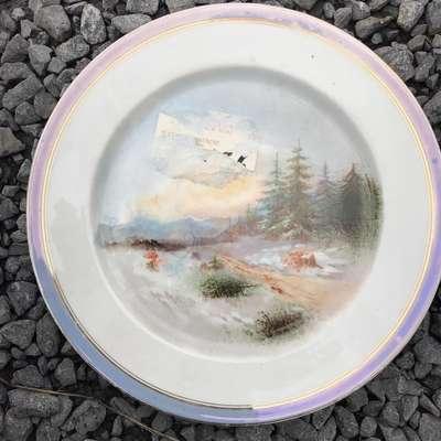 """Тарелка """"Пейзаж"""" в стиле Винтаж Франция, середина 20 века"""