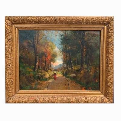 """Большая картина """"Лесной пейзаж"""" в красивой раме. в стиле Классицизм (классика), Бельгия, конец 19 века"""
