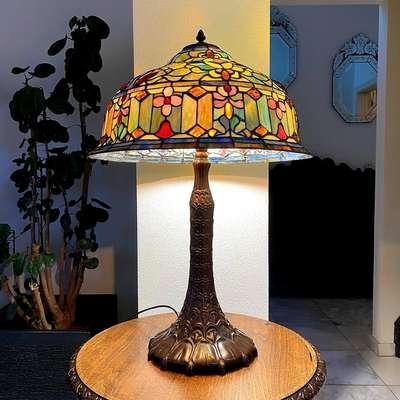Настольная лампа Тиффани в стиле Тиффани, Франция, начало 20 века
