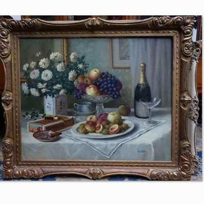 """Картина """"Натюрморт"""" подписная. в стиле Классицизм (классика), Бельгия, начало 20 века"""