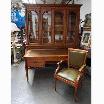 Набор для кабинета - книжный шкаф, письменный стол, кресло. в стиле Классицизм (классика), Бельгия, середина 20 века