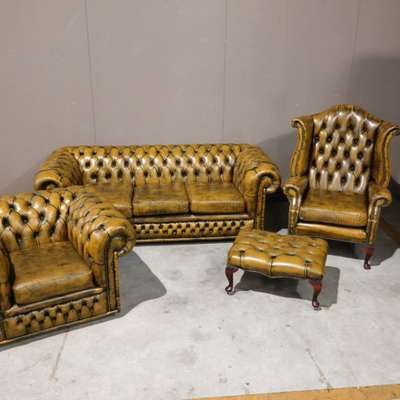 Комплект кожаной мебели в стиле Честерфилд, Голландия, начало 20 века