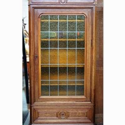 Библиотечный шкаф со свинцовым стеклом. в стиле Бидермайер, Бельгия, начало 20 века