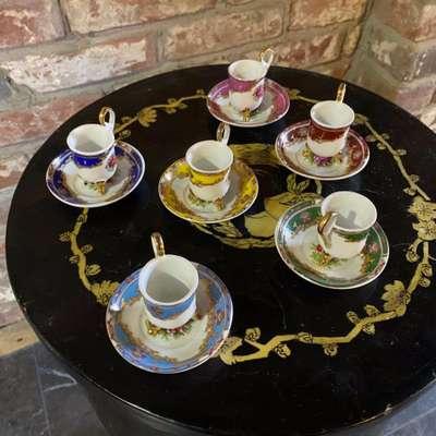 Чашки мини эспрессо сет в стиле Эклектика, Франция, конец 20 века