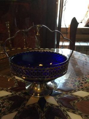 Конфетница синее стекло в наличии