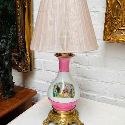 Лампа настольная фарфоровая. в стиле Людовик XVI, Франция, конец 19 века