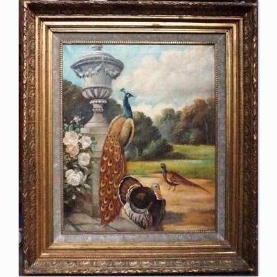 """Живопись """"Пейзаж с павлином, фазаном и индейкой"""" в стиле Классицизм (классика), Франция, середина 19 века"""