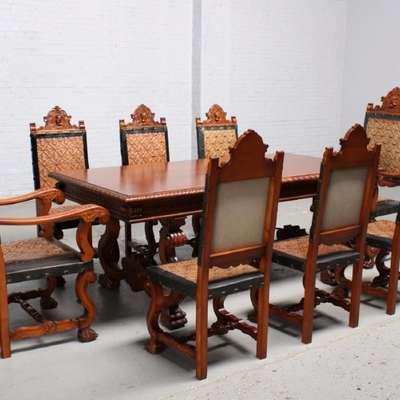 Стол и 8 стульев в стиле Ренессанс Франция, начало 20 века