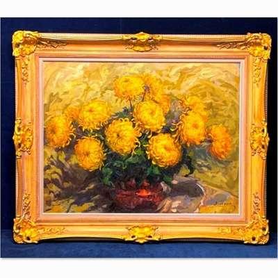 """Старинная живопись Jules De Cort (1918-1999) """"Хризантемы"""". в стиле Классицизм (классика), Бельгия, середина 20 века"""