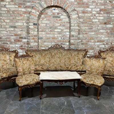 Мягкий комплект (Диван, 2 кресла, 2 стула, столик) в стиле Барокко, Италия, середина 20 века