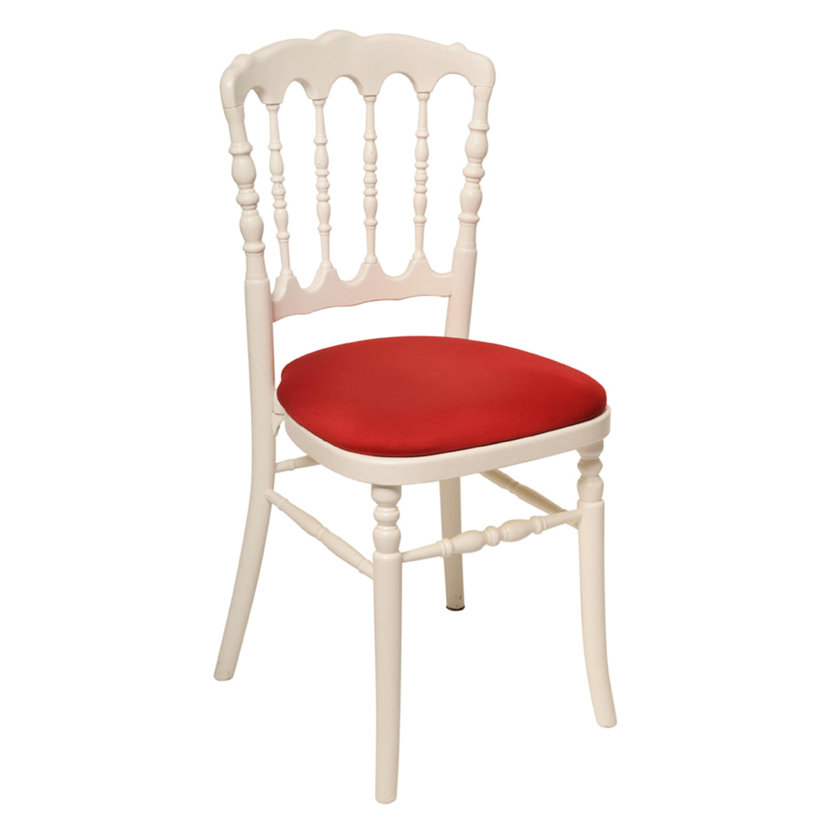Chaise napoléon blanche assise rouge