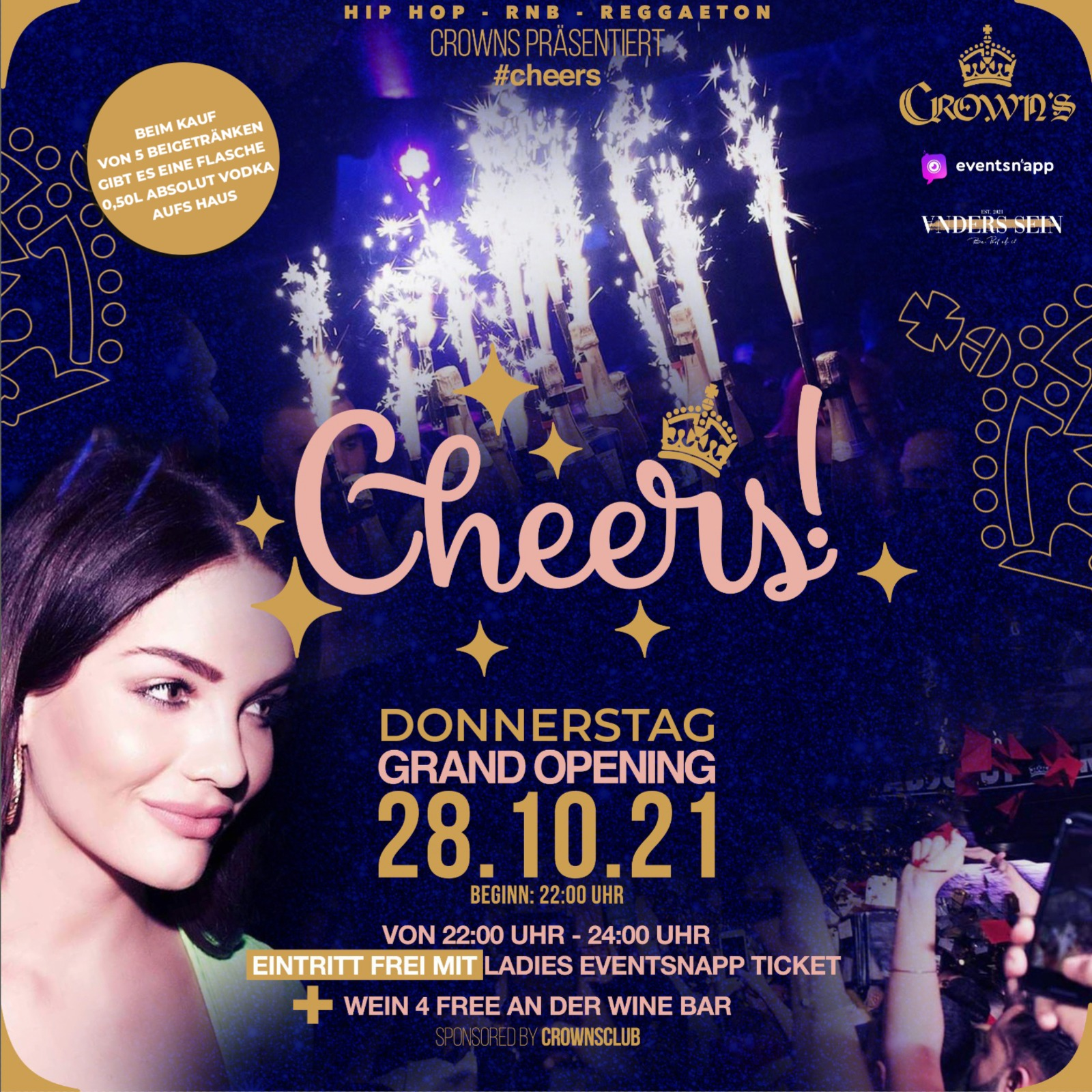 CHEERS @ Crowns Club - Do 28.10 - Openin