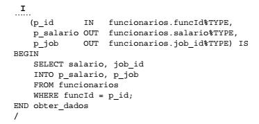 Script SQL para definição de query parametrizada