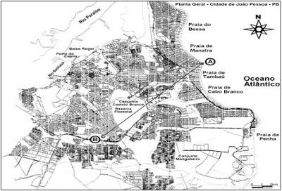 Mapa da cidade de João Pessoa