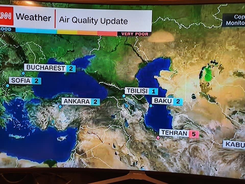 CNN-ის დღევანდელი მონაცემებით - ევროპაში ყველაზე სუფთა ჰაერი თბილისშია