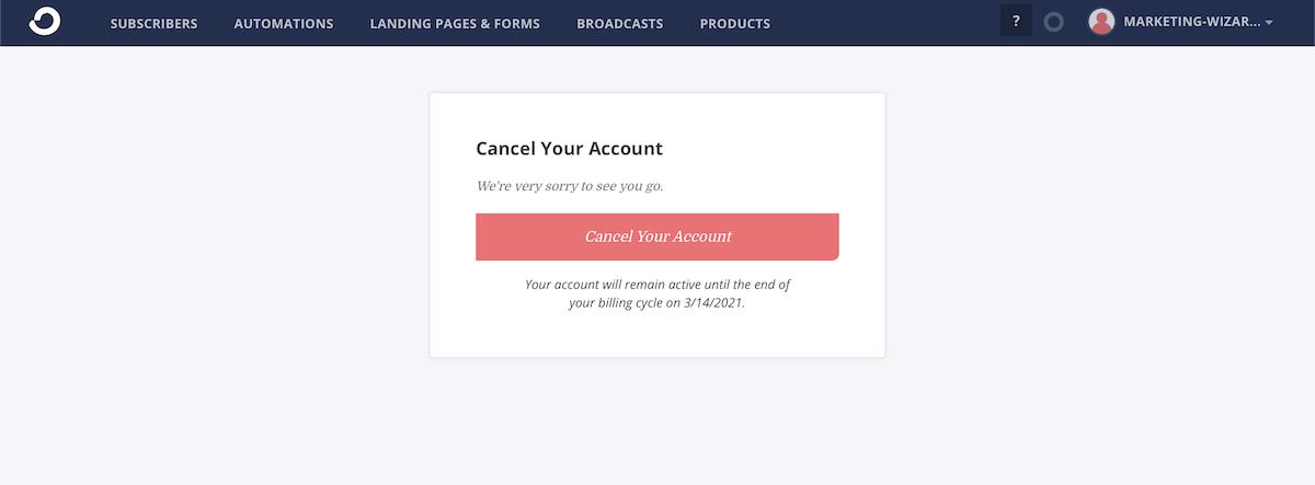 cancel your accountをボタンをクリック