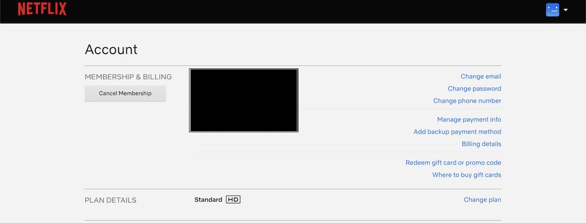 Neflixのアカウント情報画面