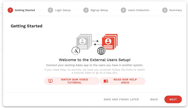 外部ユーザーの設定開始画面