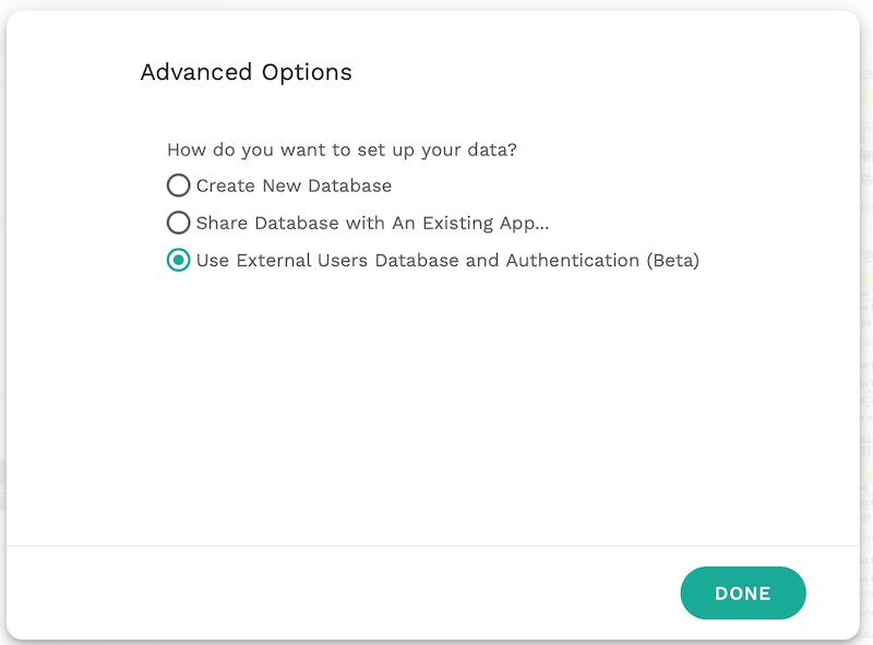 Use External Users Databaseにチェック