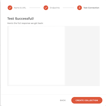 API設定テスト成功画面
