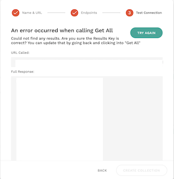 APIテスト失敗エラー画面