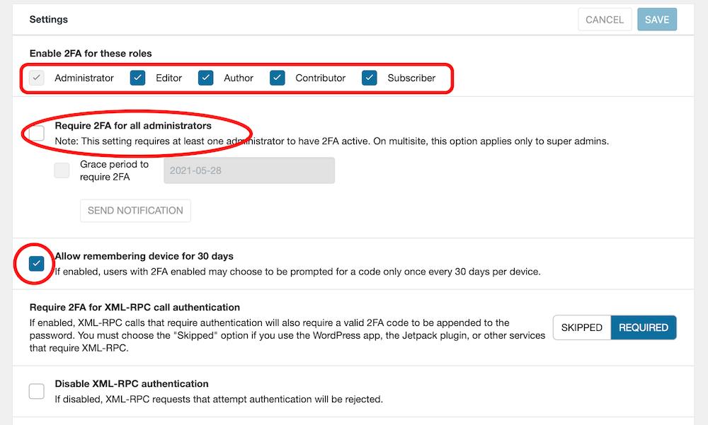 Wordfenceの2段階認証許可設定
