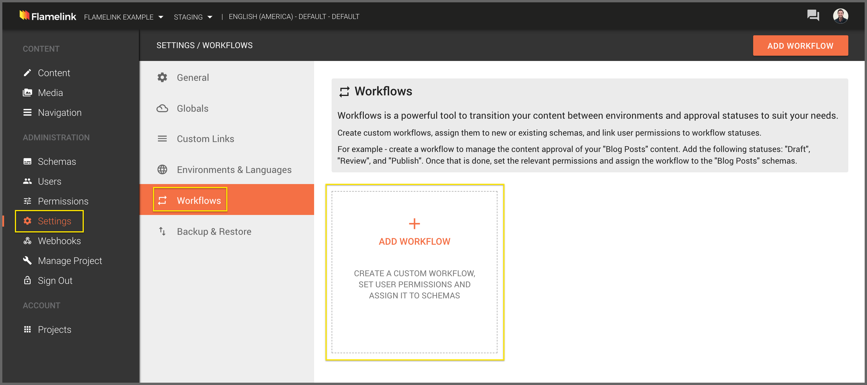 Add your first workflow in Flamelink, the Firebase CMS