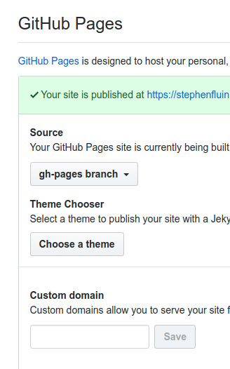 settings screenshot - github pages