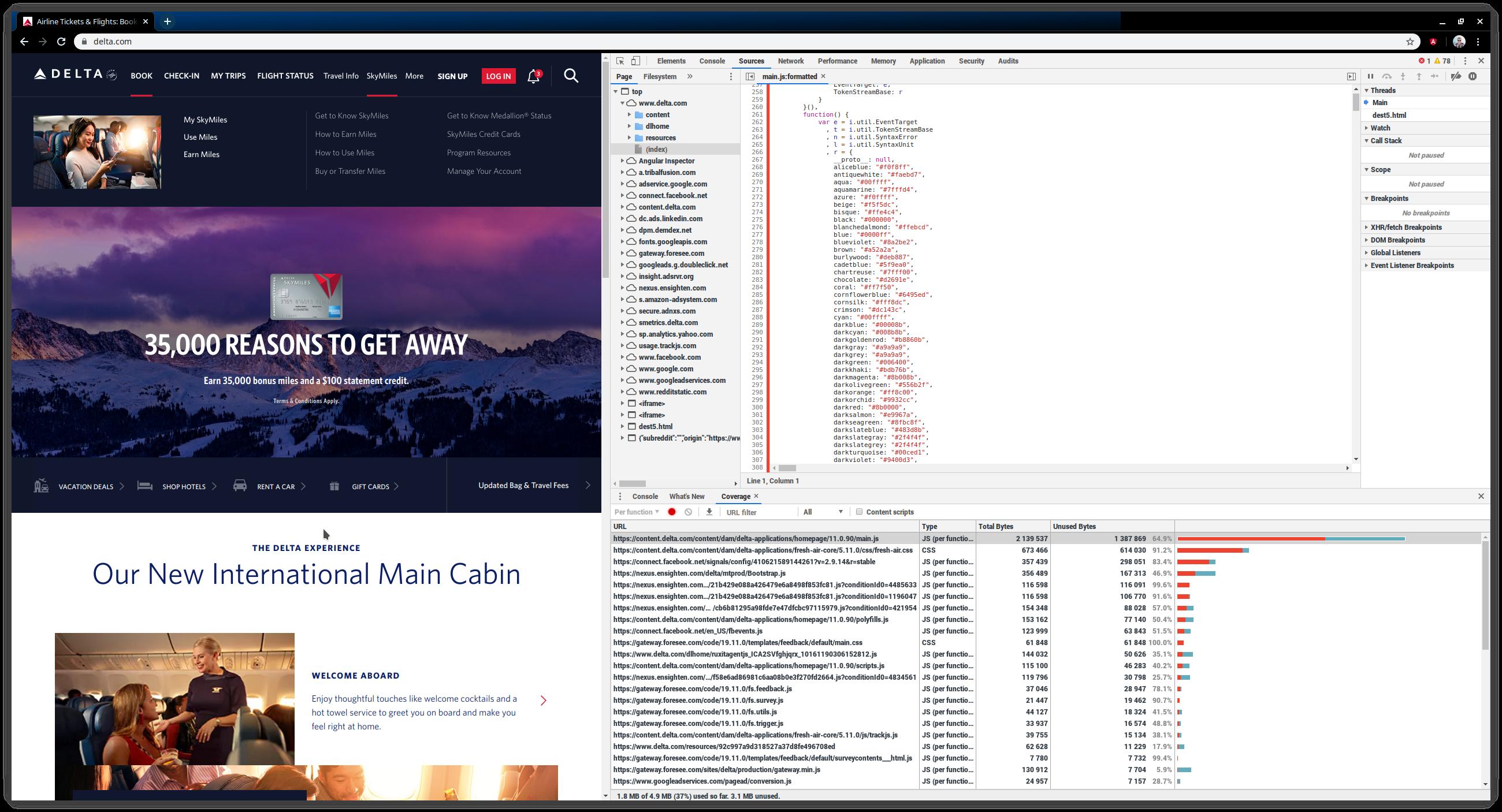 delta.com code coverage shows 64% unused code in main.js